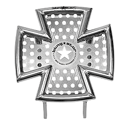 Blingstar Iron Cross Front Bumper - Polished Aluminum - Blingstar Factory Nerf Bars With Integrated Heel Guard - Polished Aluminum
