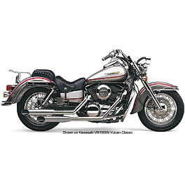 Cobra Classic Deluxe Slashcut Exhaust - 1997 Kawasaki Vulcan 1500 Classic - VN1500D Cobra Sissy Bar Luggage Rack - Chrome