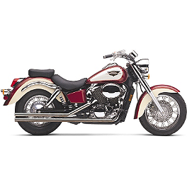 Cobra Lo-Boy Shotgun Exhaust - 2003 Honda Shadow ACE Deluxe 750 - VT750CDA Cobra Saddlebag Supports - Chrome