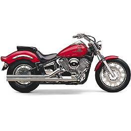 Cobra Lo-Boy Shotgun Exhaust - 2009 Yamaha V Star 1100 Custom - XVS11 Cobra Short Round Sissy Bar - Chrome