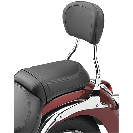 Cobra Short Round Sissy Bar - Chrome - Mustang 2-Piece Sport Touring Seat - Studded