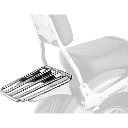 Cobra Sissy Bar Luggage Rack - Chrome - 2002 Kawasaki Vulcan 800 - VN800A Cobra Front Floorboards Swept - Chrome