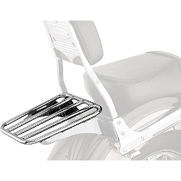 Cobra Sissy Bar Luggage Rack - Chrome - 2005 Yamaha V Star 1100 Classic - XVS11A Cobra Headlight Visor - 7 1/2