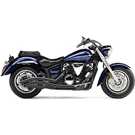 Cobra Speedster Swept Exhaust - Black - 2007 Yamaha V Star 1300 - XVS13 Cobra Sissy Bar Luggage Rack - Chrome