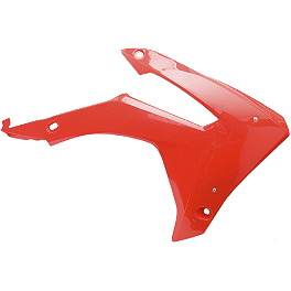 Cycra Powerflow Radiator Shrouds - Red - Cycra Stadium Number Plate - White