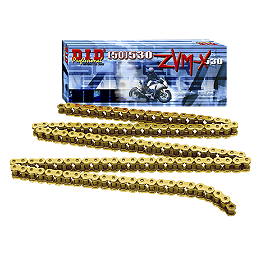 DID 530 ZVMX X-Ring Gold Chain - 120 Links - DID 525 Erv X-Ring Gold Master Link - Rivet Style