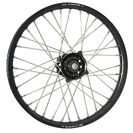 DNA Specialty Front Wheel 1.60X21 - Black/Black - 2005 KTM 525SX Warp 9 Complete Front Wheel 1.60X21 - Silver/Black