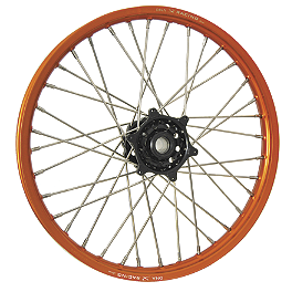 DNA Specialty Front Wheel 1.60X21 - Black/Orange - 2004 KTM 525MXC Warp 9 Complete Front Wheel 1.60X21 - Orange/Black