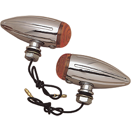 Drag Specialties Ball Milled Chrome Marker Lights - Drag Specialties Gothic Mirror With Black Flame Stem - Right