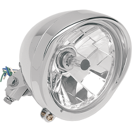 "Drag Specialties Diamond Style Bottom Mount 5-3/4"" Headlight Assembly With Visor - Biker's Choice Billet Aluminum Headlight"