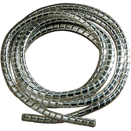 "Drag Specialties Chrome Cable/Wire Covering - 5/16"" - Drag Specialties Drag-Ness Round Mirror With Stealth I Stem"