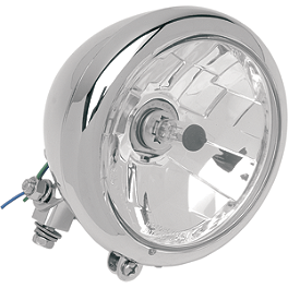 "Drag Specialties Diamond Style Bottom Mount 5-3/4"" Headlight Assembly - Drag Specialties Rectangular Mirror"