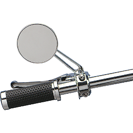 Drag Specialties Drag-Ness Round Mirror With Stealth I Stem - Kuryakyn Iron Cross LED Light Mount
