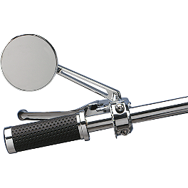 Drag Specialties Drag-Ness Round Mirror With Stealth II Stem - Drag Specialties Gothic Mirror With Flame Stem - Right