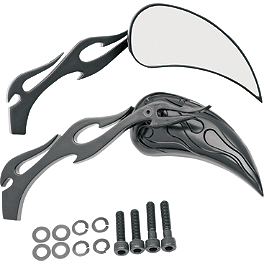 Drag Specialties Flame Teardrop Mirrors With Black Flame Stem - Drag Specialties Stealth Mirror Adapter