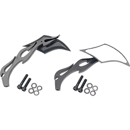 Drag Specialties Gothic Mirror With Black Flame Stem - Left - Arlen Ness Scoop Triangle Mirror - Right