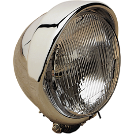 "Drag Specialties 5-3/4"" Headlight With Built-In Visor - Drag Specialties Diamond Style Bottom Mount 5-3/4"