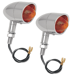 Drag Specialties Mini Retro-Style Marker Lights - Drag Specialties Miller's Mirror Clamp