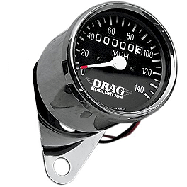 Drag Specialties Mini Speedometer With 1:1 Ratio - Drag Specialties License Plate Mount