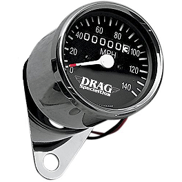 Drag Specialties Mini Speedometer With 2:1 Ratio - Drag Specialties Die-Cast Chrome Cable Clamp - 1