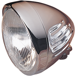 "Drag Specialties Custom 5-3/4"" Springer Style Headlight With Visor And Grooves - MC Enterprises Universal Headlight Mounting Brackets"