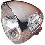 "Drag Specialties Custom 5-3/4"" Springer Style Headlight With Visor And Grooves - Cruiser Headlights"