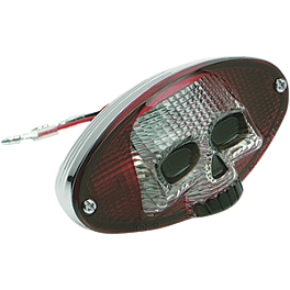 Drag Specialties 3-D Tail Light with Skull Face - Show Chrome License Plate Holder With LED Brake Light And Turn Signals