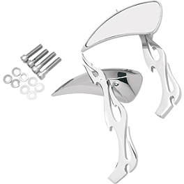 Drag Specialties Teardrop Mirrors With Flame Stem - Kuryakyn Shift Linkage Extension Kit