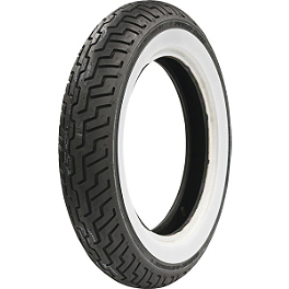 Dunlop Harley Davidson D402 Front Tire - MT90-16B Wide Whitewall - BikeMaster Tube 5.00/5.10-16 16mm Offset Rubber Stem