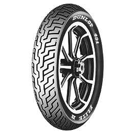 Dunlop 491 Elite II Raised White Letter Front Tire - MR90-18 - Dunlop D207 / D208 Tire Combo