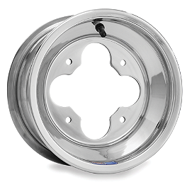 DWT A5 Front Wheel - 10X5 3+2 Polished - 2010 Kawasaki KFX450R DWT Evo Rear Wheel - 8X8 Black