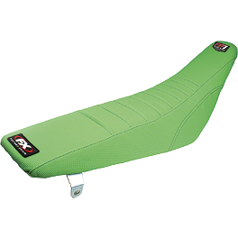 Factory Effex FP1 Factory Pleated Gripper Seat Cover - Kawasaki - One Industries Techno-Grip Seat Cover - Green/Black
