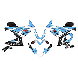 Factory Effex EV-R Complete Graphic Kit - OEM Colors - 2009 Suzuki GSX-R 600 Factory Effex Fender Trim Kit - Black / White