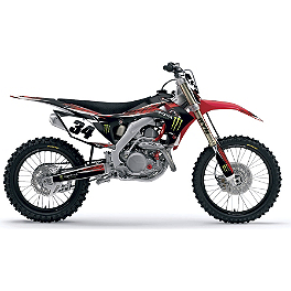 2013 Factory Effex Monster Energy Complete Graphics Kit - Honda - 2008 Honda CRF450R Factory Effex TC-4 Seat Cover With Bump - Honda