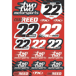 Factory Effex Chad Reed Two Two Motorsports Sticker Sheet - 2013 Factory Effex Fork Guard Graphics - Kawasaki