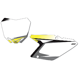 2013 Factory Effex Number Plate Backgrounds Suzuki - White - 2012 Suzuki RMZ250 Factory Effex FP1 Factory Pleated Gripper Seat Cover - Suzuki