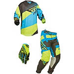 2014 Fly Racing Youth Kinetic Combo - Blocks - Utility ATV Pants, Jersey, Glove Combos
