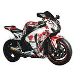 Flu Designs Graffiti Graphic Kit White/Red - FLU Designs Motorcycle Graphic Kits and Decals