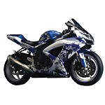 Flu Designs Graffiti Graphic Kit White/Blue - FLU Designs Motorcycle Graphic Kits and Decals