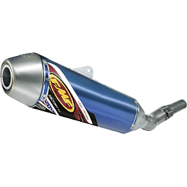 FMF Factory 4.1 Slip-On Exhaust - Blue Anodized Titanium With Stainless Steel Mid Pipe - FMF Factory 4.1 Complete Exhaust - Titanium Mid Pipe With Titanium Megabomb Header