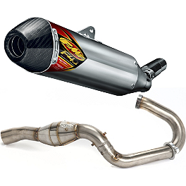 FMF Aluminum Factory 4.1 Slip-On RCT With Stainless Megabomb Header And Carbon Fiber End Cap - 2010 Kawasaki KX250F FMF Factory 4.1 Complete Exhaust - Titanium Mid Pipe With Titanium Megabomb Header