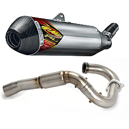 FMF Aluminum Factory 4.1 Slip-On RCT With Stainless Powerbomb Header And Carbon Fiber End Cap - FMF Factory 4.1 Titanium Slip-On RCT With Stainless Powerbomb Header And Carbon Fiber End Cap