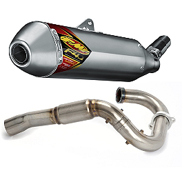 FMF Aluminum Factory 4.1 Slip-On RCT With Stainless Powerbomb Header - 2010 Suzuki RMZ250 FMF Megabomb Header - Titanium