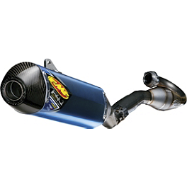 FMF Factory 4.1 RCT Complete Exhaust - Blue Anodized Titanium With Megabomb Header And Carbon Fiber End Cap - FMF Factory 4.1 RCT Slip-On Exhaust - Aluminum With Stainless Steel Mid Pipe And Carbon Fiber End Cap