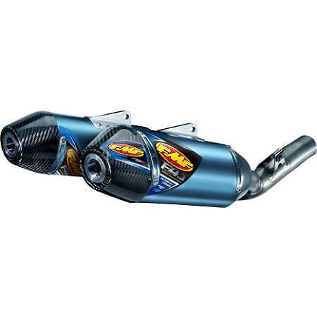 FMF Factory 4.1 RCT Slip-On Exhaust - Blue Anodized Titanium Dual With Carbon Fiber End Caps - Main