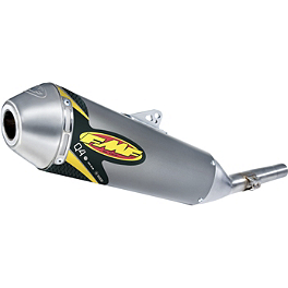 FMF Q4 Spark Arrestor Slip-On Exhaust - Single Pipe - FMF Titanium Powercore Slip-On Exhaust - Natural Titanium Single