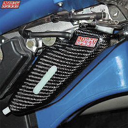GYTR Lightspeed Carbon Fiber Coolant Bottle Cover - One Industries Techno-Grip Seat Cover - Blue