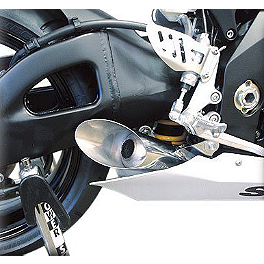 Hotbodies Racing Megaphone Slash Cut Slip-On Exhaust - Stainless Steel - 2005 Suzuki GSX-R 1000 M4 GP Series Slip-On Exhaust - Black