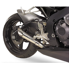 Hotbodies Racing Megaphone Slash Cut Slip-On Exhaust - Stainless Steel - 2010 Honda CBR1000RR ABS M4 GP Series Slip-On Exhaust - Black