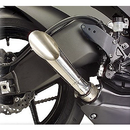 Hotbodies Racing Megaphone Slash Cut Slip-On Exhaust - Stainless Steel - 2008 Kawasaki ZX1000 - Ninja ZX-10R M4 GP Series Slip-On Exhaust - Black